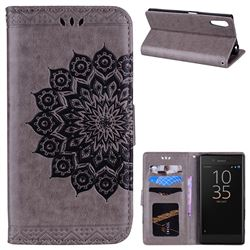 Datura Flowers Flash Powder Leather Wallet Holster Case for Sony Xperia XZ XZs - Gray