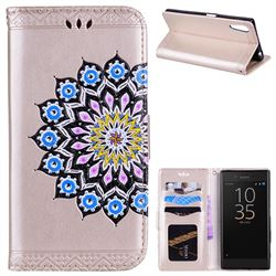 Datura Flowers Flash Powder Leather Wallet Holster Case for Sony Xperia XZ XZs - Golden