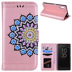 Datura Flowers Flash Powder Leather Wallet Holster Case for Sony Xperia XZ XZs - Pink