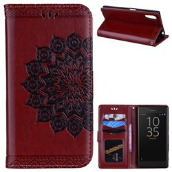 Datura Flowers Flash Powder Leather Wallet Holster Case for Sony Xperia XZ XZs - Brown