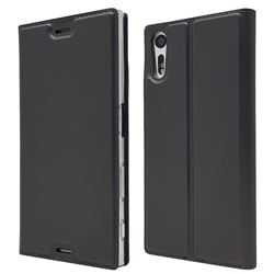 Ultra Slim Card Magnetic Automatic Suction Leather Wallet Case for Sony Xperia XZ XZs - Star Grey