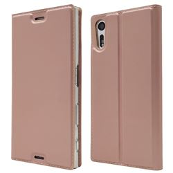 Ultra Slim Card Magnetic Automatic Suction Leather Wallet Case for Sony Xperia XZ XZs - Rose Gold