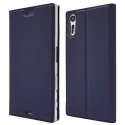 Ultra Slim Card Magnetic Automatic Suction Leather Wallet Case for Sony Xperia XZ XZs - Royal Blue