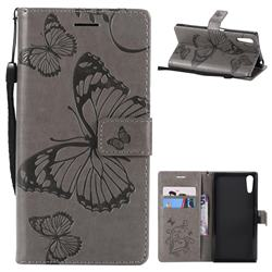 Embossing 3D Butterfly Leather Wallet Case for Sony Xperia XZ XZs - Gray