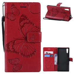 Embossing 3D Butterfly Leather Wallet Case for Sony Xperia XZ XZs - Red