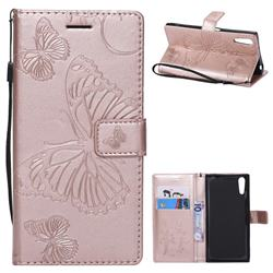 Embossing 3D Butterfly Leather Wallet Case for Sony Xperia XZ XZs - Rose Gold