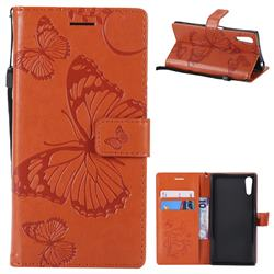 Embossing 3D Butterfly Leather Wallet Case for Sony Xperia XZ XZs - Orange