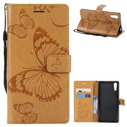 Embossing 3D Butterfly Leather Wallet Case for Sony Xperia XZ XZs - Yellow
