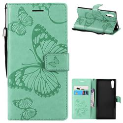 Embossing 3D Butterfly Leather Wallet Case for Sony Xperia XZ XZs - Green