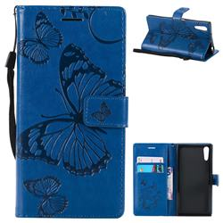 Embossing 3D Butterfly Leather Wallet Case for Sony Xperia XZ XZs - Blue