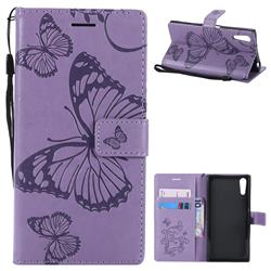 Embossing 3D Butterfly Leather Wallet Case for Sony Xperia XZ XZs - Purple
