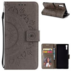 Intricate Embossing Datura Leather Wallet Case for Sony Xperia XZ XZs - Gray