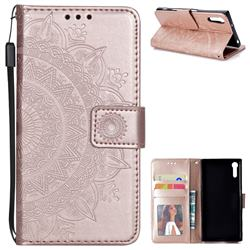 Intricate Embossing Datura Leather Wallet Case for Sony Xperia XZ XZs - Rose Gold