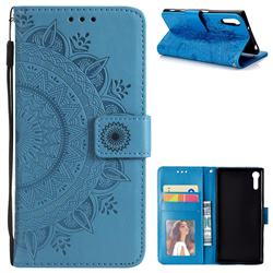 Intricate Embossing Datura Leather Wallet Case for Sony Xperia XZ XZs - Blue