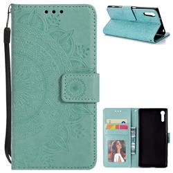 Intricate Embossing Datura Leather Wallet Case for Sony Xperia XZ XZs - Mint Green
