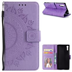 Intricate Embossing Datura Leather Wallet Case for Sony Xperia XZ XZs - Purple