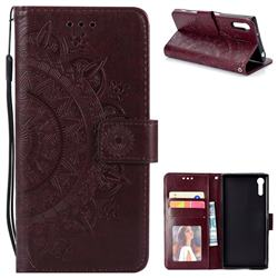Intricate Embossing Datura Leather Wallet Case for Sony Xperia XZ XZs - Brown