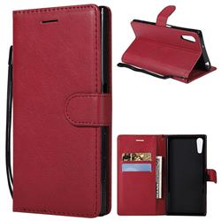 Retro Greek Classic Smooth PU Leather Wallet Phone Case for Sony Xperia XZ XZs - Red