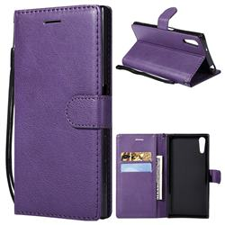 Retro Greek Classic Smooth PU Leather Wallet Phone Case for Sony Xperia XZ XZs - Purple