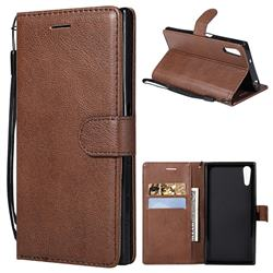 Retro Greek Classic Smooth PU Leather Wallet Phone Case for Sony Xperia XZ XZs - Brown