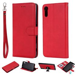 Retro Greek Detachable Magnetic PU Leather Wallet Phone Case for Sony Xperia XZ XZs - Red