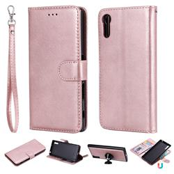 Retro Greek Detachable Magnetic PU Leather Wallet Phone Case for Sony Xperia XZ XZs - Rose Gold
