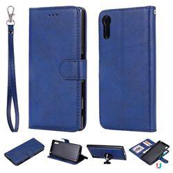 Retro Greek Detachable Magnetic PU Leather Wallet Phone Case for Sony Xperia XZ XZs - Blue