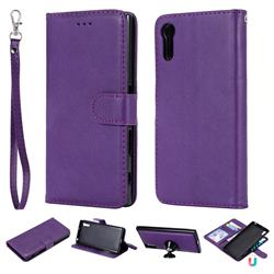 Retro Greek Detachable Magnetic PU Leather Wallet Phone Case for Sony Xperia XZ XZs - Purple