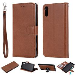 Retro Greek Detachable Magnetic PU Leather Wallet Phone Case for Sony Xperia XZ XZs - Brown