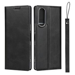 Calf Pattern Magnetic Automatic Suction Leather Wallet Case for Sony Xperia XZ XZs - Black