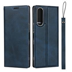 Calf Pattern Magnetic Automatic Suction Leather Wallet Case for Sony Xperia XZ XZs - Blue