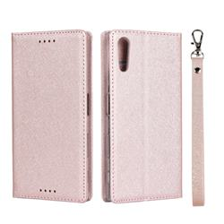 Ultra Slim Magnetic Automatic Suction Silk Lanyard Leather Flip Cover for Sony Xperia XZ XZs - Rose Gold