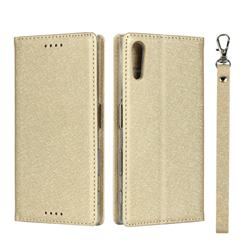 Ultra Slim Magnetic Automatic Suction Silk Lanyard Leather Flip Cover for Sony Xperia XZ XZs - Golden