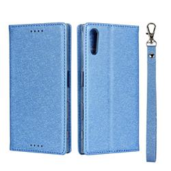 Ultra Slim Magnetic Automatic Suction Silk Lanyard Leather Flip Cover for Sony Xperia XZ XZs - Sky Blue