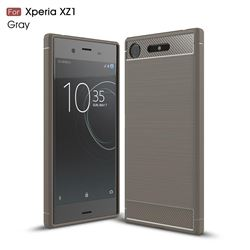 Luxury Carbon Fiber Brushed Wire Drawing Silicone TPU Back Cover for Sony Xperia XZ1 (Gray)