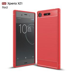 Luxury Carbon Fiber Brushed Wire Drawing Silicone TPU Back Cover for Sony Xperia XZ1 (Red)