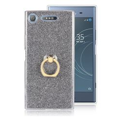 Luxury Soft TPU Glitter Back Ring Cover with 360 Rotate Finger Holder Buckle for Sony Xperia XZ1 - Black