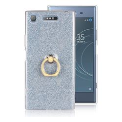 Luxury Soft TPU Glitter Back Ring Cover with 360 Rotate Finger Holder Buckle for Sony Xperia XZ1 - Blue