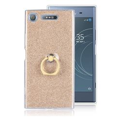 Luxury Soft TPU Glitter Back Ring Cover with 360 Rotate Finger Holder Buckle for Sony Xperia XZ1 - Golden