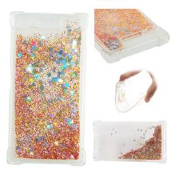 Dynamic Liquid Glitter Sand Quicksand Star TPU Case for Sony Xperia XZ1 - Diamond Gold