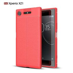 Luxury Auto Focus Litchi Texture Silicone TPU Back Cover for Sony Xperia XZ1 - Red