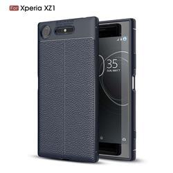 Luxury Auto Focus Litchi Texture Silicone TPU Back Cover for Sony Xperia XZ1 - Dark Blue