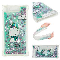 Tiny Unicorn Dynamic Liquid Glitter Sand Quicksand Star TPU Case for Sony Xperia XZ1