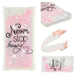Never Stop Dreaming Dynamic Liquid Glitter Sand Quicksand Star TPU Case for Sony Xperia XZ1
