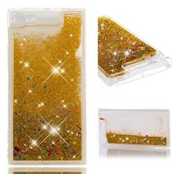 Dynamic Liquid Glitter Quicksand Sequins TPU Phone Case for Sony Xperia XZ1 - Golden