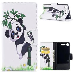 Bamboo Panda Leather Wallet Case for Sony Xperia XZ1