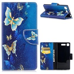 Golden Butterflies Leather Wallet Case for Sony Xperia XZ1