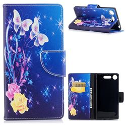 Yellow Flower Butterfly Leather Wallet Case for Sony Xperia XZ1