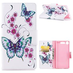 Peach Butterfly Leather Wallet Case for Sony Xperia XZ1
