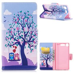 Tree and Owls Leather Wallet Case for Sony Xperia XZ1